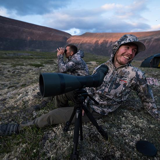 SITKA ambassador and sheep guide Dustin Roe enjoying a laugh behind the glass