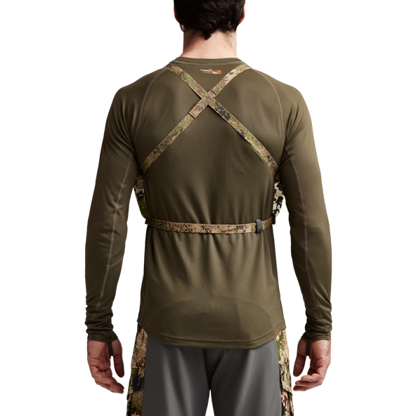 Mountain Optics Harness in Subalpine on model back.