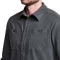 Riser Work Shirt in Lead sleeve buttons