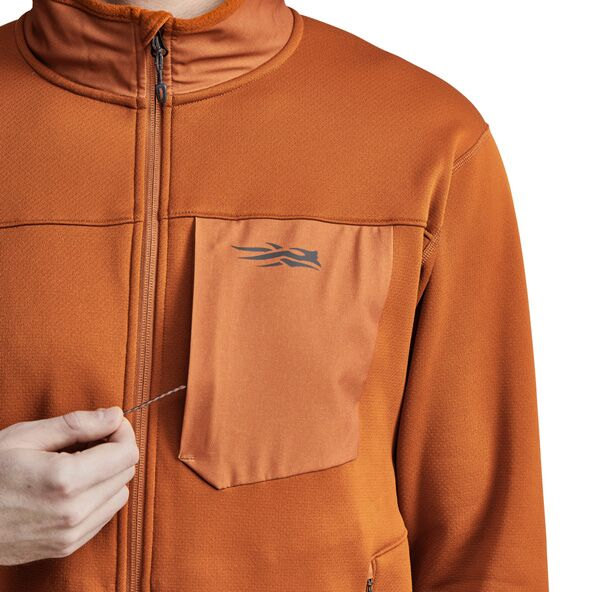 Dry Creek Fleece Jacket in Copper zippered chest pocket close up