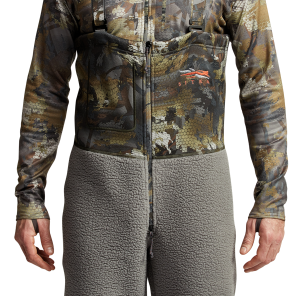 Gradient Cold Weather Bib in Waterfowl Timber front zipper