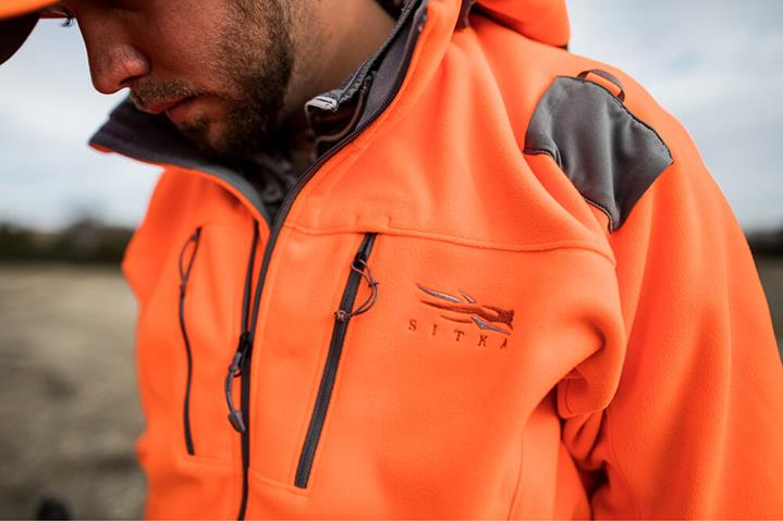 Stratus Jacket in Blaze Orange close-up